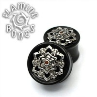 Black Dog Wood Chandi Mandala In Steel with Accent Dome