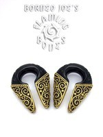 "9/16"" Black Dogwood and Brass Filigrana Ear Weights"
