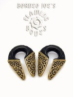 "9/16"" Black Water Buffalo Horn and Bronze Filigrana Ear Weights"