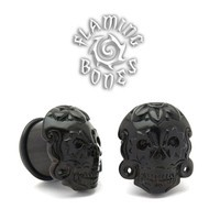Black Dogwood Day of The Dead Mask Plugs