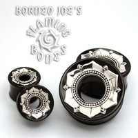 "7/8"" Black Dogwood Eyelets with Silver Lotus Flower"