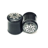 Black Dogwood Plugs with Ornate Silver Pattern