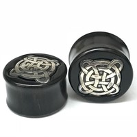 Black Dogwood Plugs with Ornate Silver Pattern - PBDS26