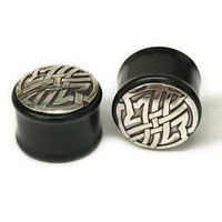 Black Dogwood Plugs with Ornate Silver Pattern - PBDS27