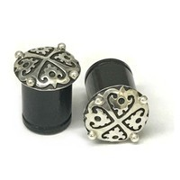 Black Dogwood Plugs with Ornate Silver Pattern - PBDS4