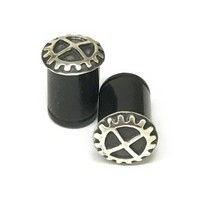 Black Dogwood Plugs with Ornate Silver Pattern - PBDS9