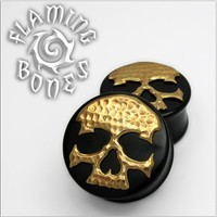 "Black Horn ""Ancient Remains"" Plugs with Brass Skull Inlay"
