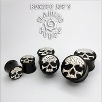 "Black Horn ""Ancient Remains"" Plugs with Sterling Silver Skull Inlay"