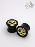 Black Horn Tibetan Skull Plugs with Brass Skull Inlay