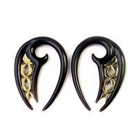 Black Water Buffalo Horn Chalaz Lattice Hooks with Brass Accents