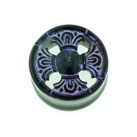 Black Water Buffalo Horn with Lacquer Inlay Lattice Eyelets - Style EHL13