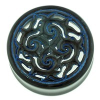 Black Water Buffalo Horn with Lacquer Inlay Lattice Eyelets - Style EHL21