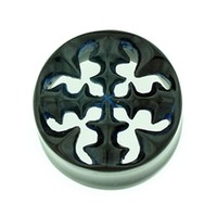 Black Water Buffalo Horn with Lacquer Inlay Lattice Eyelets - Style EHL8