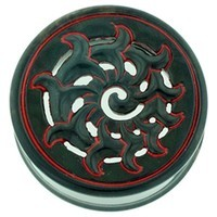 "1-1/2"" Black Water Buffalo Horn with Red Lacquer Inlay Lattice Eyelets - Style EHL4"