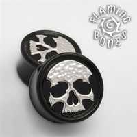 "Black Wood ""Ancient Remains"" Plugs with Sterling Silver Skull Inlay"