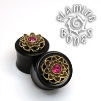 Black Wood Plugs with a Brass Mounted Lotus and Gem Accent