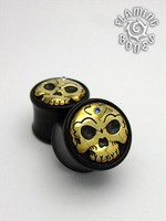 Black Wood Tibetan Skull Plugs with Brass Skull Inlay and Gem Accent