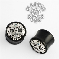 Black Wood Tibetan Skull Plugs with Silver Skull Inlay and Gem Accent