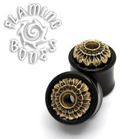 "3/4"" Brass Chrys Flower Mounted to Blackwood Eyelets"