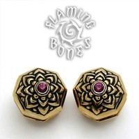 Brass Jeweled Lotus Ear Weight with Inlayed Accent - Amethyst