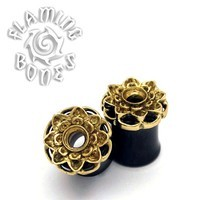 Brass Lotus Flower Mounted to Wood Eyelets