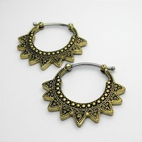 Brass Lotus Sun Ear Rings with Patina