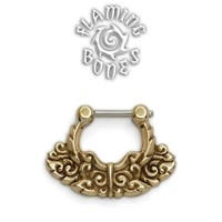 Brass Septum Klikr with Finely Detailed Floral Pattern and Surgical Steel Post - Chantri