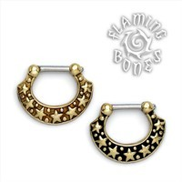 Brass Septum Klikr with Surgical Steel Post - Astro