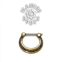 Brass Septum Klikr with Surgical Steel Post - Filigree Crescent