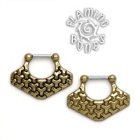 Brass Septum Klikr with Surgical Steel Post - Kikko