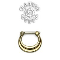 Brass Septum Klikr with Surgical Steel Post - Layered Crescent