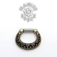 Brass Septum Klikr with Surgical Steel Post - Luna