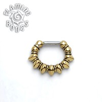 Brass Septum Klikr with Surgical Steel Post - Spitze