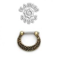 Brass Septum Klikr with Surgical Steel Post - Textured Crescent