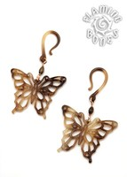 Butterfly Tortoise Shell Water Buffalo Horn Ear Dangles