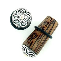 Coconut Wood Long Tapered Plugs with Inlay Made of Silver