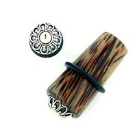 Coconut Wood Long Tapered Plugs with Silver Inlay