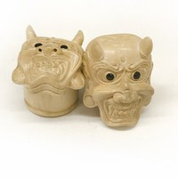 Coffee Wood Oni Mask Plugs