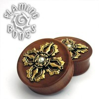 Dorje Collectors Edition 3 Plugs - Brass Inlayed to Double Flared Red Wood with Silver Dome Accent