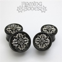 Dorje Collectors Edition 3 Plugs - Steel Inlayed to Double Flared Black Wood with Jet Cabochon Accents