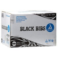 Dynarex Brand Black Dental Bibs/Lap Cloths - Case of 500