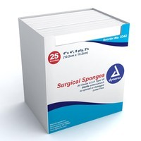 "Dynarex Surgical Gauze Sponge Sterile 2's - 4""x 4"" 8 Ply - Box of 25"