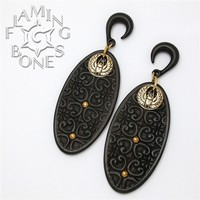 2g Flora Oval 1 Ear Dangles in Blackwood with Brass Accents