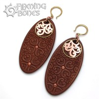 Flora Oval 1 Ear Dangles in Redwood with Brass Accents