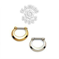 Gold Plated Septum Klikr with Surgical Steel Post - Beveled Crescent