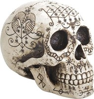 Hand-Painted Voodoo Skull with Natural Bone Finish