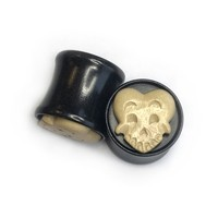 Happy Death Head Black Dogwood Plug with Coffee Wood Mask - Style 4