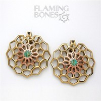 Hex-Dala Lattice Ear Weights in Mixed Metals with Turquoise Gem Accent