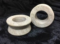 "Hourglass Eyelets in ""Smoke"" Grey Fossilized Coral"