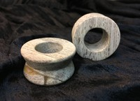 "Hourglass Eyelets in ""Whiff"" Grey Fossilized Wood - 1-1/4"""